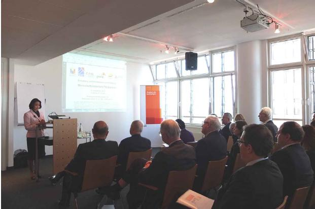 Ambassador to Germany Maria Cleofe Natividad delivers the welcome remarks at the Philippine business forum in Berlin.
