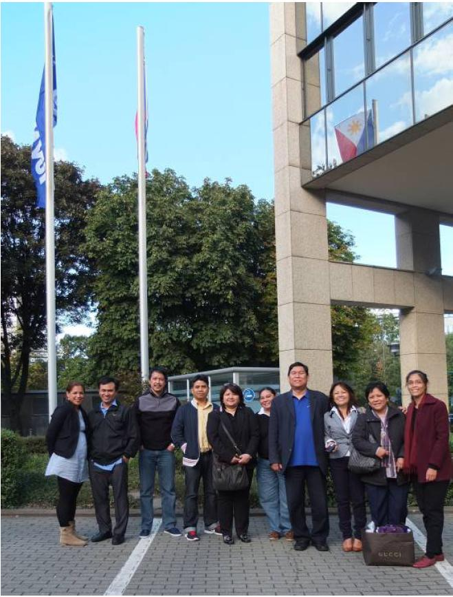 The Mobile Outreach Team poses for a photo in front of Bank im Bistum Essen which houses the Philippine Honorary Consulate in Essen. From left: Ms. Maria Wandelt,; Mr. Armand Mahinay; Mr. Joel Pangilinan; Mr. Mario Simbulan; Ms. Melinda Hernais; Ms. Lianna Judith Sale; Minister Mardomel Melicor; Ms. Milagros Wandelt; Ms. Flordeliza delos Santos; and Ms. Rosemarie Ramos.