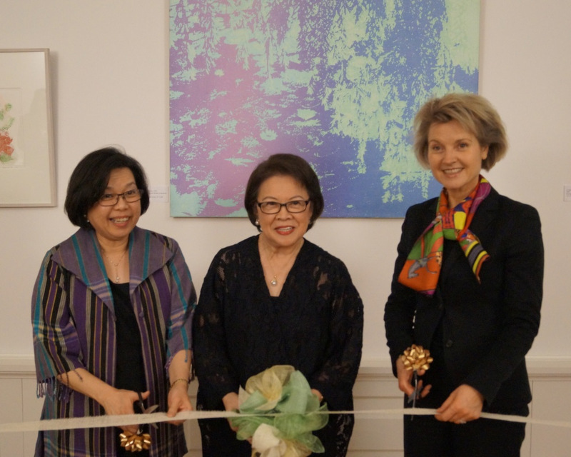 "Ambassador Melita S. Sta. Maria-Thomeczek with Ms. Lenore RS Lim and the Director for Southeast Asia, Australia, New Zealand and the Pacific of the Federal Foreign Office, Ms. Birgit Ory, during the ribbon cutting ceremony formally opening the ""Pieces of Dreams"" exhibition."
