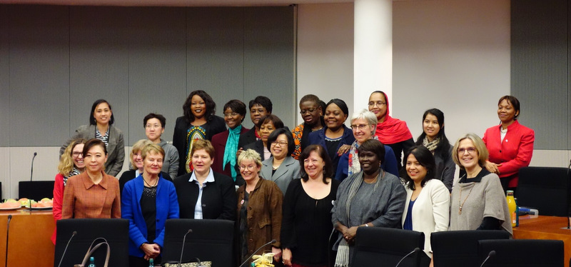 "Power women – Female Ambassadors with Parliamentarians and key resource persons from invited NGOs gathered at the Paul Lobe Haus for a lecture and discussion on ""Developing Women´s Potential to Fight Poverty""."