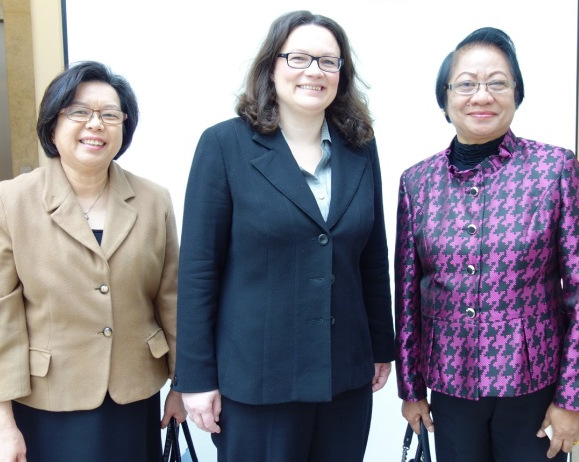 Ambassador Thomezek and, Secretary Baldoz pose with German Labor Federal Minister for Labor and Social Affairs Andrea Nahles