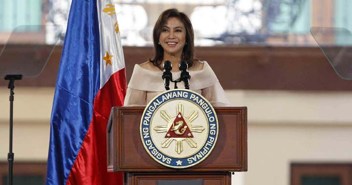 Newly inaugurated Vice President of the Phillipes Leni Robredo, smiles as she gives her inaugural speech, at the QC Reception House in Quezon City, June 30 ,2016. (Mark Balmores)