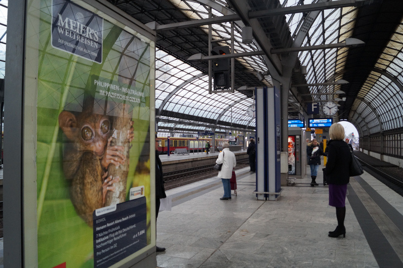 Philippine Tarsier billboard in Spandau Train Station, Berlin