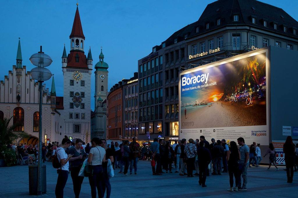 Boracay displayed on a 114-square meter billboard at Marienplatz in Munich, Germany (picture courtesy of the Philippine Tourism Board)