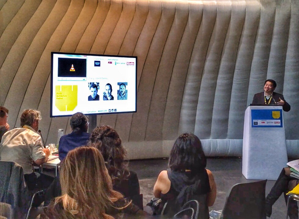 Architect William Ti, Jr. discusses the social relevance of The Book Stop Project before  the WAF jurors; WTA Design Studio representatives at the WAF event