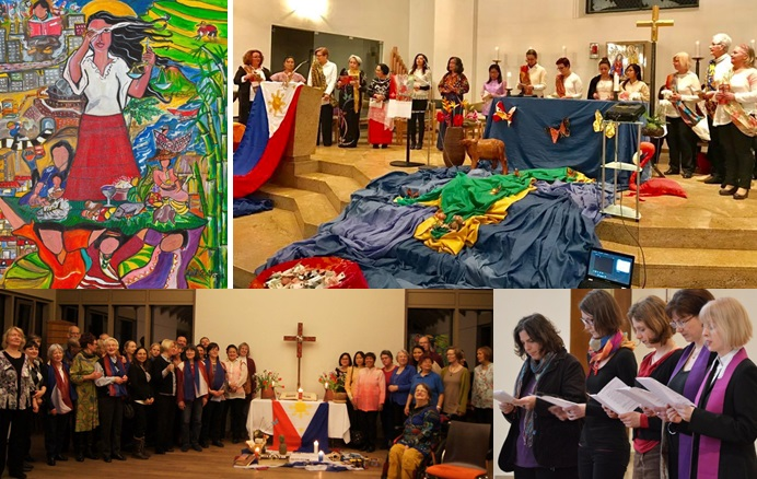 "Clockwise from top left: (1)This year´s logo for the World Day of Prayer in 2017 with the title ""A Glimpse of the Philippine Situation"" was made by Philippine artist Rowena Apol Laxamana Sta Rosa; Weltgebetstag celebrations in Berlin - (2) Katholische Kirchengemeinde Heilig Geist, Bayernallee; (3) International Communion of Charismatic Episcopal Church, Berlin; and (3) Evangelischen Kirchengemeinde, Berlin-Karow."