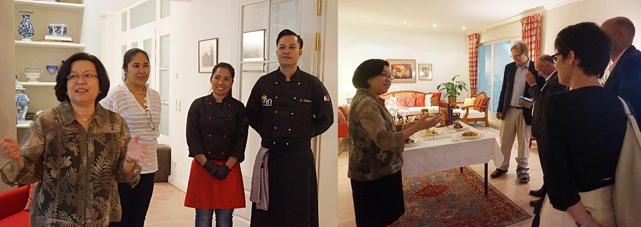 (Left photo) Ambassador Thomeczek introducing Filipino restauranteurs to the guests. (Right photo) The Ambassador presenting the Filipino dishes to be served.