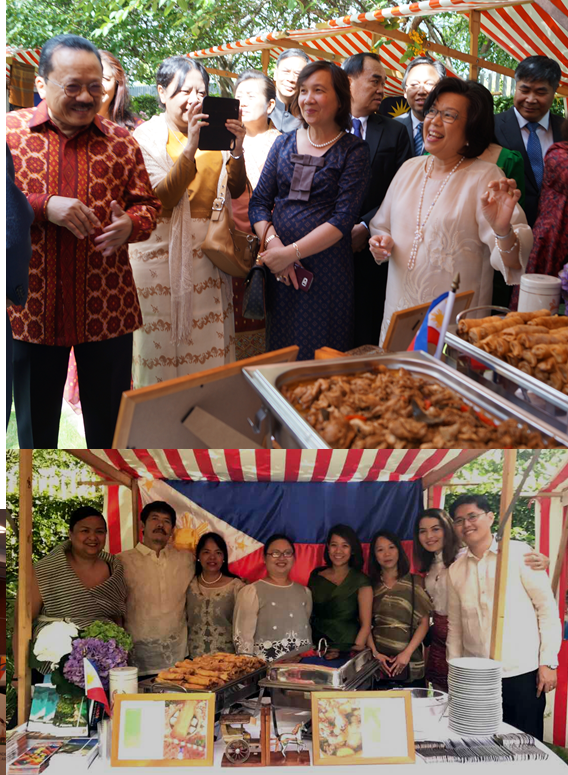 (Top photo) Amb. Thomeczek presents the adobo and turon being served during the reception to her fellow ASEAN ambassadors. (Bottom photo) Deputy Chief of Mission and Consul General Donna Rodriguez with Philippine Embassy staff and family members at the Philippine stall.