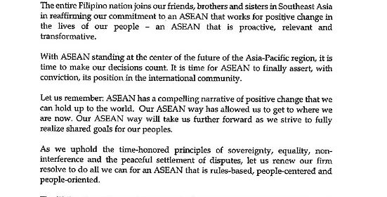 MESSAGE OF THE PRESIDENT FOR THE 50th ANNIVERSARY OF ASEAN