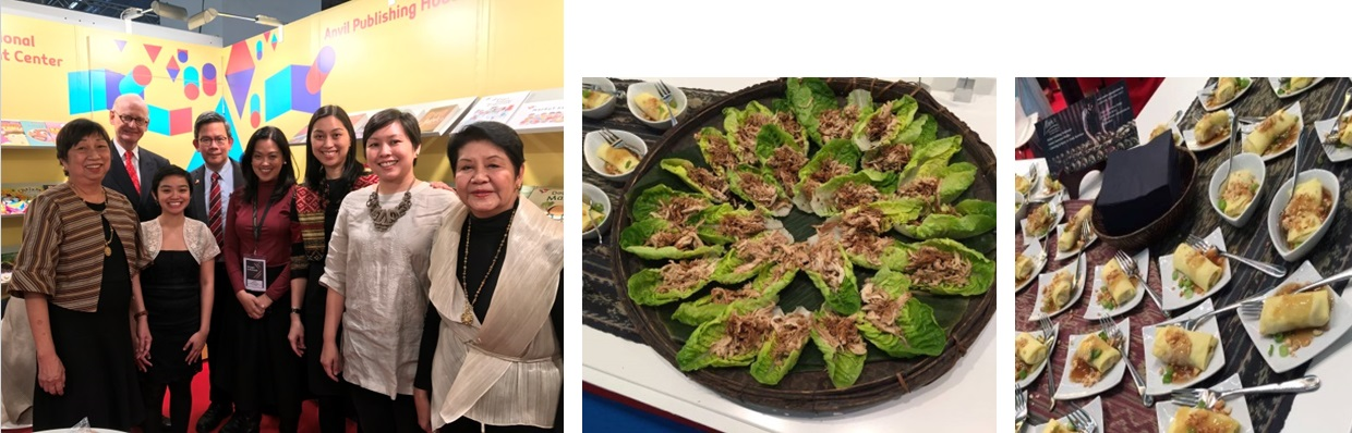 Left Photo: Minister Cruz (fourth from left) and Honorary Consul Torsten Griess-Nega (second from left) graced the opening of the Philippine Pavilion with the NBDB governors, the secretariat and publishers. Right Photo: Dusseldorf-based caterer Maite Hontiveros-Dittke prepared an array of Filipino dishes during the opening, which included adobo flakes on salad leaves and lumpiang sariwa.