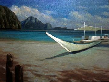 Calm Waters (oil on canvas) by Nil Sencillo
