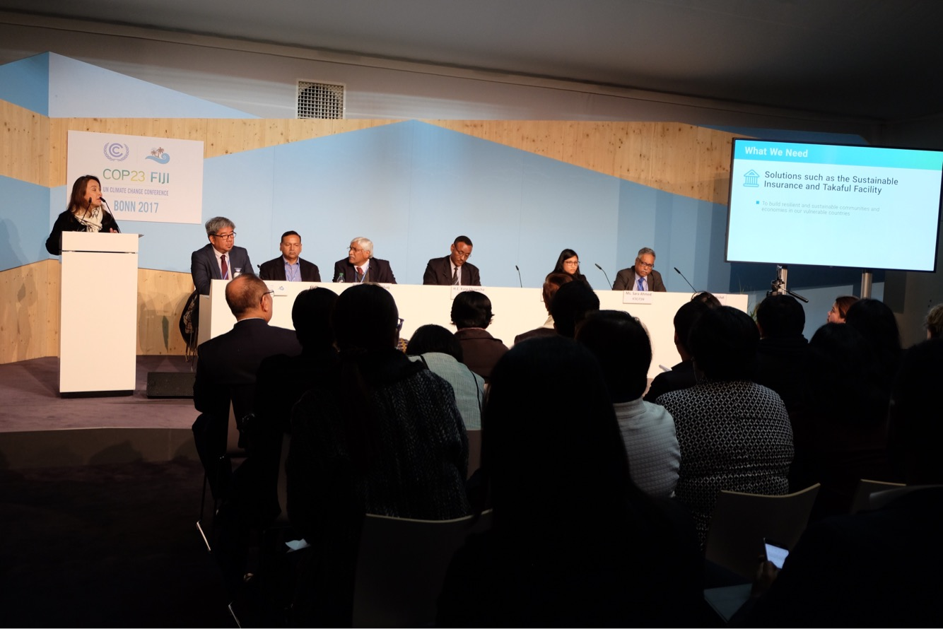 "Senator Legarda delivering the keynote address at the COP23 side event, ""Innovative Climate Finance Strategies and Instruments by and for Climate Vulnerable Countries,"" organized by the Climate Vulnerable Forum (CVF)"