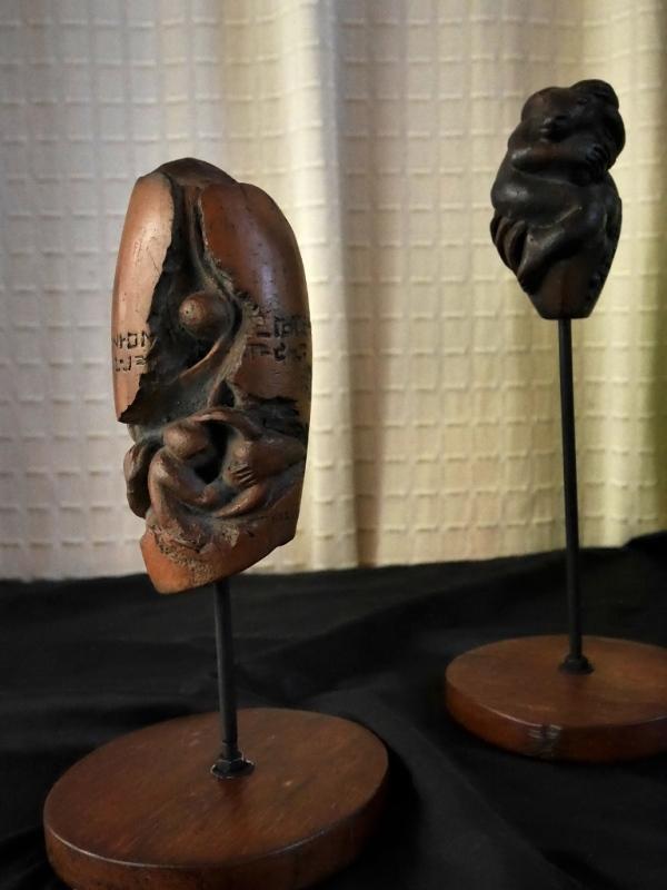 Pagtarangayen (Friendship) 1 & 2 (terracotta clay) by Mario Lubrico,