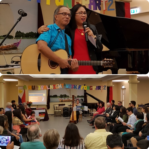 Top photo: Outgoing FFONG President Ms. Chit Heitmann introduces veteran guitarist Jack Nuguid. Lower photo: Rapt attention at Martina Fransen's harp performance