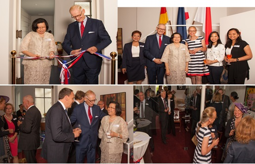 (upper, left, The Ambassador and Mr. Torsten Griess-Nega cut the ribbon to formally open the new Honorary Consulate office. upper right, They are joined by (l-r) Ms. Donna Hess of the Honorary Consulate, Mrs. Inge Griess-Nega, Tourism Attache Meggie Valdez and DOT Admin Officer Belle Apostol. (lower photos show the guests and the Ambassador and Honorary Consul talking with the Mayor of Bad Nauheim Klaus Kress.