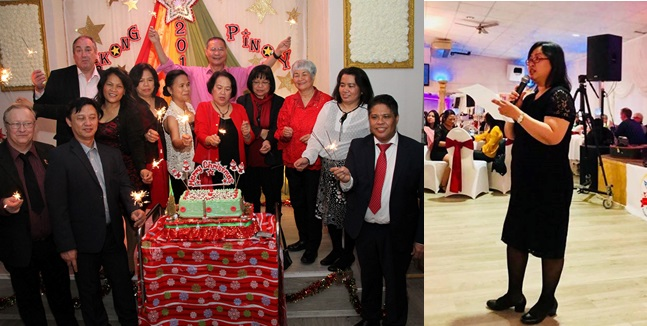 (L) Filipino Chaplain Fr. Jun de Ocampo, together with the Philippine Pastoral Team, led the lighting of this year´s Christmas Cake. (R) Minister and Consul General Donna M. Rodriguez represented the Embassy and delivered the welcome remarks before 300 guests.
