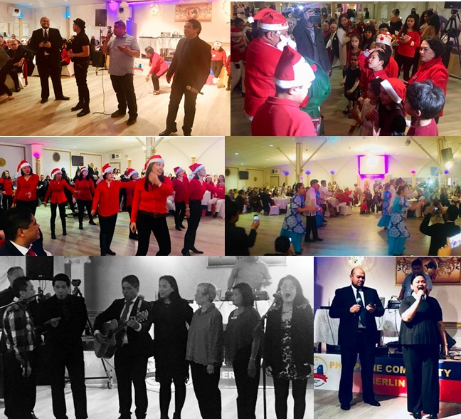 """(Clockwise from top left) (1) Jomar Rubio, Eladio Pamaran, Kevin Orteza and Rico Villavert crooned a beautiful arrangement of Ryan Cayabyab´s """"Munting Sanggol"""". (2) Santa Rey de Paz gave gifts to children in attendance. (3) The Filipiniana Dance Group presented folk dances. (4) Jomar and Mylah Rubio sang Jose Mari Chan´s """"Christmas in our Hearts"""". (5) The Papuri Shalom Choir serenaded the crowd with Felipe de Leon´s """"Payapang Daigdig"""". (6)The Loved Flock and CFC-FFL presented modern and ballroom dances."""
