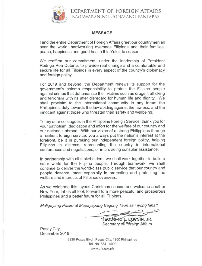 CHRISTMAS MESSAGE OF THE SECRETARY OF FOREIGN AFFAIRS