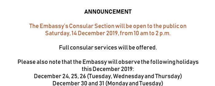 Consular Saturday, 14 December 2019