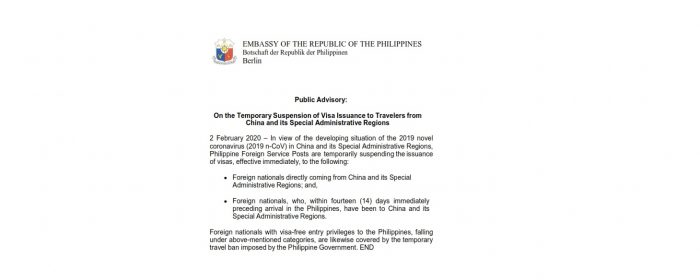 Public Advisory : On the Temporary Suspension of Visa Issuance to Travelers from China and its Special Administrative Regions