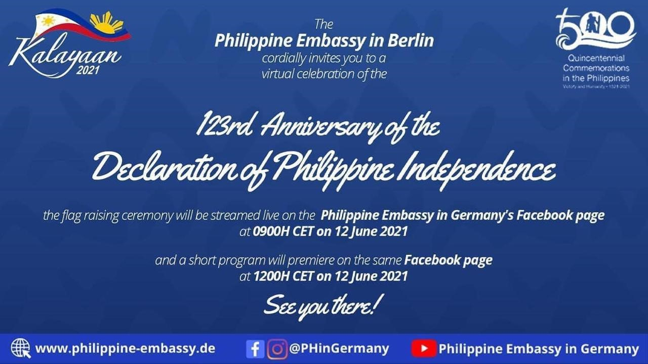 PHILIPPINE EMBASSY IN BERLIN REACHES OUT TO INTERNATIONAL PARTNERS AND THE OVERSEAS FILIPINO COMMUNITY ON INDEPENDENCE DAY